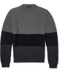 CALVIN KLEIN 205W39NYC - Striped Chunky-Knit Wool Jumper - Lyst