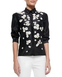 Carolina Herrera Daisy-embroidered Button-front Blouse - Lyst