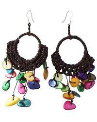 Aeravida - Multicolor Mop Chandelier Hoop Dangle Silver Earrings - Lyst