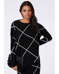 Missguided Grid Check Knitted Jumper  - Lyst