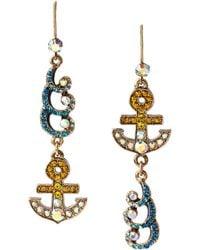 Betsey Johnson - Faceted Stone Flower Drop Earrings - Lyst
