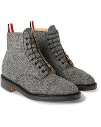 Thom Browne Gibson Wool-tweed Derby Boots - Lyst