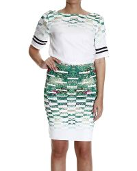 Patrizia Pepe Dress Half Sleeve With Skirt Scuba Printed Floral - Lyst
