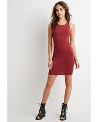 Forever 21 Racerback Bodycon Dress red - Lyst