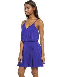 Milly Stretch Silk Tank Dress - Cobalt - Lyst