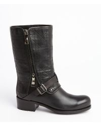Dior Black Leather Side Zip Cannage Detail Boots - Lyst
