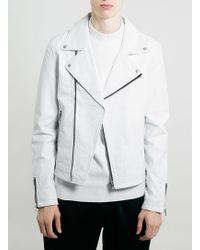 Topman White Leather Biker Jacket - Lyst