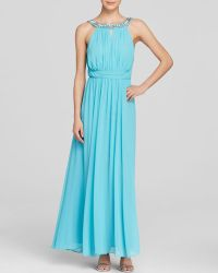 Laundry by Shelli Segal Gown - Embellished Neck Open Back Chiffon - Lyst