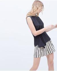 Zara Draped Waist Top - Lyst
