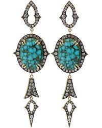 Sylva & Cie - Kingman Turquoise And Diamond Drop Earrings - Lyst