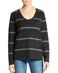 Eileen Fisher Striped Organic Cotton Sweater - Lyst