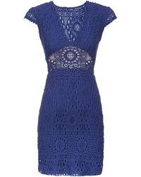 Nightcap Exclusive Cap Sleeve Lace Cuttout Mini Dress - Lyst