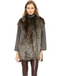 Giambattista Valli Woolen Coat with Fox Fur Taupe - Lyst