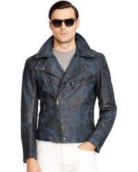 Ralph Lauren Black Label Camo Leather Biker Jacket - Lyst