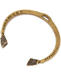 Giles & Brother Pave Crystal Skinny Hoof Cuff Antique Brass - Lyst