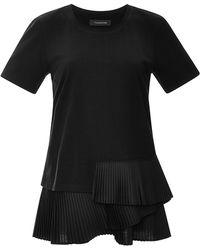 Thakoon Pleated Cotton T-shirt - Lyst