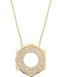 Swarovski Bolt Goldtone  Crystal Hexagon Pendant Necklace - Lyst