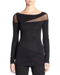 Donna Karan New York Cut-Out Jersey Top - Lyst