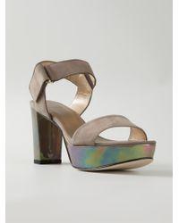 Stuart Weitzman Iridescent Heel Sandals - Lyst