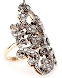 Roberto Marroni - 18Kt Rose And White Oxidized Gold Macrame Ring With White Diamonds - Lyst