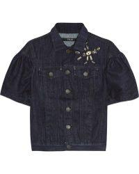 Sibling - Embellished Ruffled Denim Jacket - Lyst