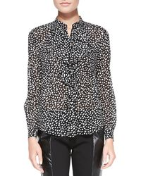 Tory Burch Veta Ruffle Front Printed Blouse Blk Dtd Pony Prnt 14 - Lyst