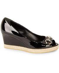 Gucci Charlotte Patent Leather Peep Toe Wedge Pumps - Lyst