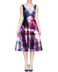 St. John Floralscape Print Flare Dress - Lyst