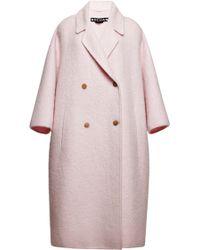 Rochas Pink Double Wool Mohair Coat - Lyst