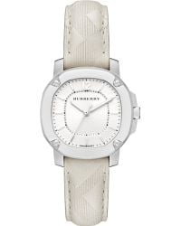 Burberry Britain Stainless Steel Check Leather Strap Watchstone - Lyst