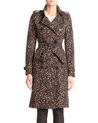 Burberry London Kensington Leopard-Print Trenchcoat multicolor - Lyst