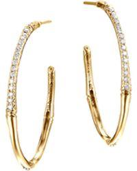 John Hardy Bamboo 18K Gold Small Diamond Hoop Earrings - Lyst