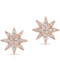 Anne Sisteron 14Kt Rose Gold Diamond Starburst Stud Earrings - Lyst