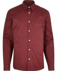 River Island Red Long Sleeve Shirt - Lyst