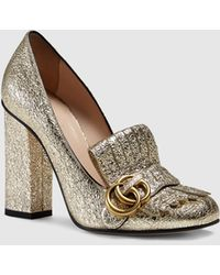 Gucci - Gold Leather Fringe Moccasin Court Shoes - Lyst