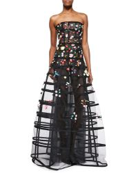 Oscar de la Renta Straplesss Floral Embroidered Wire Dress - Lyst