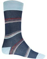 Paul Smith Navy Square Stripe Detail Socks - Lyst