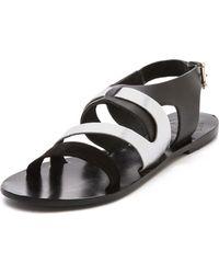 Sol Sana Asha Cross Strap Flat Sandals Whitesilver - Lyst
