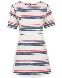 Topshop Striped Jacquard A-Line Dress multicolor - Lyst