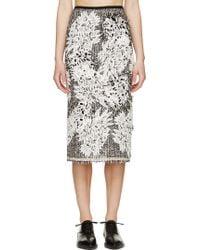 Erdem Black And White Tweed Safia Skirt - Lyst