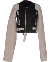 Rick Owens | Cropped Tulle and Calfskin Jacket  | Lyst
