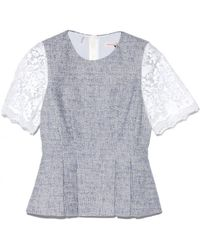 Rebecca Taylor Short Sleeve Lace and Tweed Top - Lyst