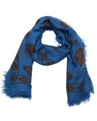 Alexander McQueen Blue And Brown Woven Skull Print Scarf - Lyst