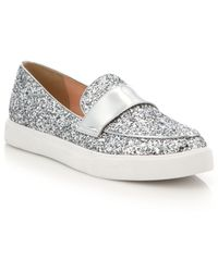 Kate Spade | Clover Glittered Leather Slip-on Sneakers | Lyst