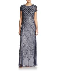Adrianna Papell Short-Sleeve Geometric Beaded Gown - Lyst
