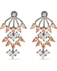 Noir Jewelry - Clarence Gunmetal-tone Crystal Earrings - Lyst