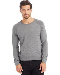 Kenneth Cole Long Sleeve Quilted Crewneck - Lyst