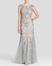 Adrianna Papell Gown - Cap Sleeve Beaded Godet - Lyst