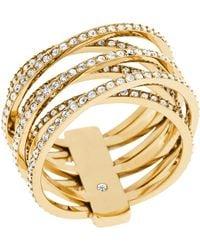 Michael Kors Pavé Criss Cross Ring gold - Lyst
