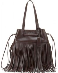 Miu Miu Fringe-Trimmed Leather Bucket Bag - Lyst